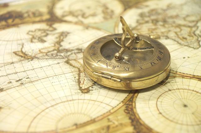 Himmelsrichtungen und Kompass: Nord, Ost, Süd, West, Mitte