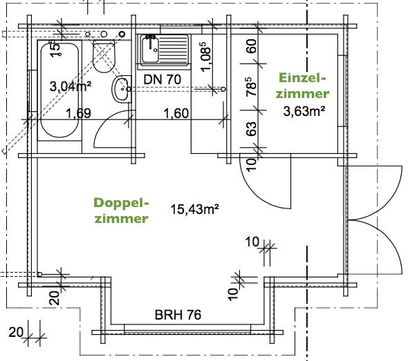 Zum Holzhammer - Grundriss des Monteurzimmers